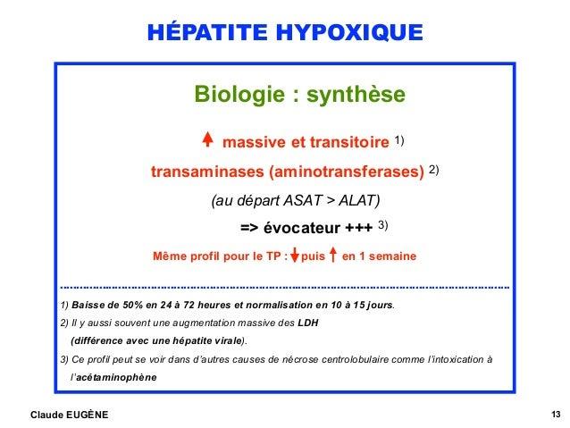 HÉPATITE HYPOXIQUE Biologie : synthèse  massive et transitoire 1) transaminases (aminotransferases) 2) (au départ ASAT > ...