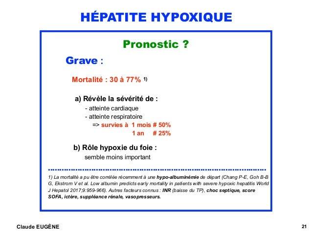 HÉPATITE HYPOXIQUE Pronostic ? Grave : Mortalité : 30 à 77% 1)  a) Révèle la sévérité de : - atteinte cardiaque - atte...