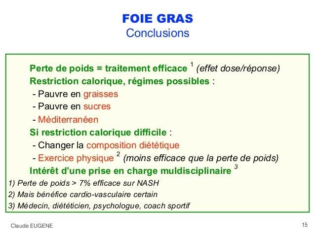 FOIE GRAS Conclusions Perte de poids = traitement efficace 1 (effet dose/réponse) Restriction calorique, régimes possibles...