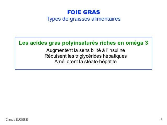 FOIE GRAS Types de graisses alimentaires Les acides gras polyinsaturés riches en oméga 3 Augmentent la sensibilité à l'ins...