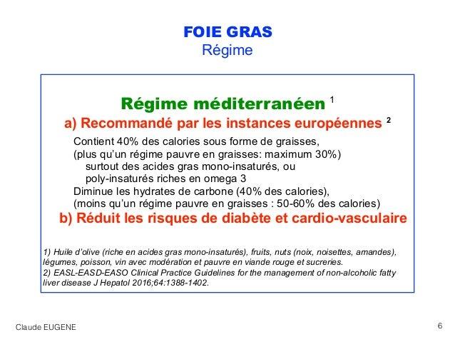 FOIE GRAS Régime Régime méditerranéen 1 a) Recommandé par les instances européennes 2 Contient 40% des calories sous forme...