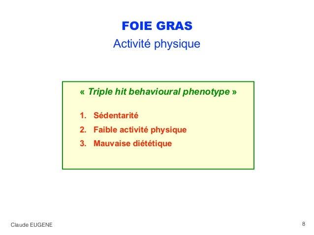 FOIE GRAS Activité physique « Triple hit behavioural phenotype » 1. Sédentarité 2. Faible activité physique 3. Mauvaise di...
