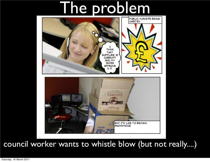 The problem council worker wants to whistle blow (but not really....)Saturday, 19 March 2011