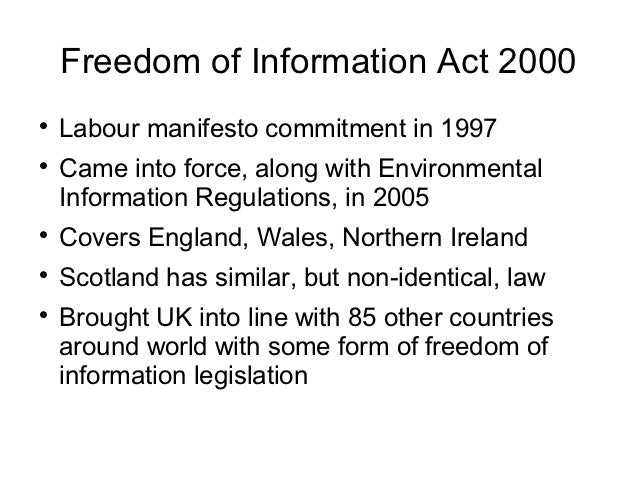 freedom of information Freedom of information laws allow access by the general public to data held by national governments the freedom of information act 1982 (foi act) gives you a general right of access to.