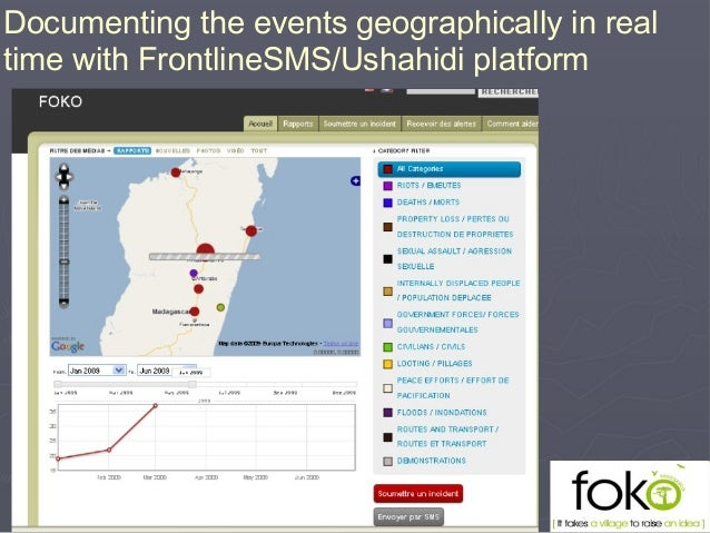 Documenting the events geographically in real time with FrontlineSMS/Ushahidi platform
