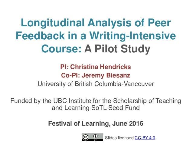 Longitudinal Analysis of Peer Feedback in a Writing-Intensive Course: A Pilot Study PI: Christina Hendricks Co-PI: Jeremy ...
