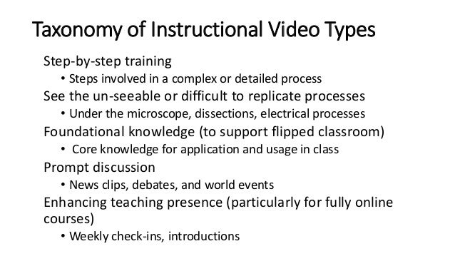 Taxonomy of Instructional Video Types Step-by-step training • Steps involved in a complex or detailed process See the un-s...