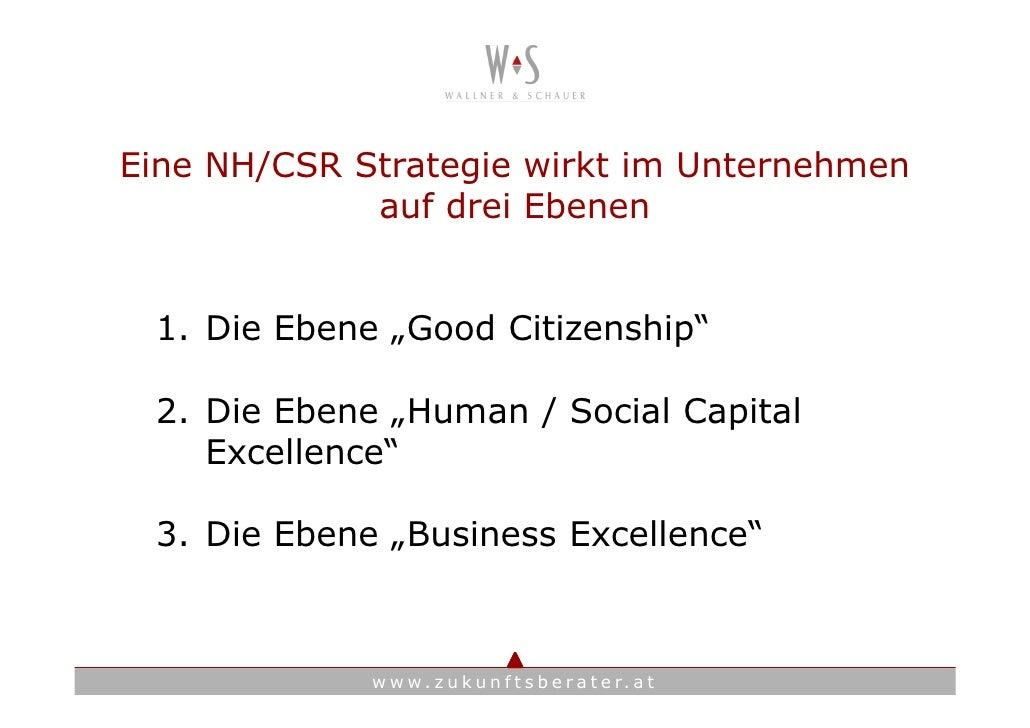 """Eine NH/CSR Strategie wirkt im Unternehmen              auf drei Ebenen    1. Die Ebene """"Good Citizenship""""   2. Die Ebene ..."""