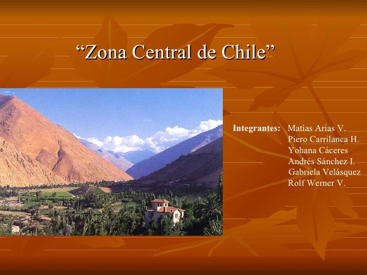 """""""Zona Central de Chile""""                  Integrantes: Matías Arias V.                               Piero Carrilanca H.   ..."""