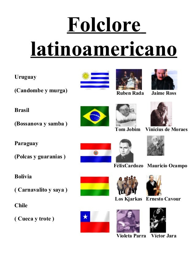 Folclore latinoamericano Uruguay (Candombe y murga) Brasil (Bossanova y samba ) Paraguay (Polcas y guaranias ) Bolivia ( C...