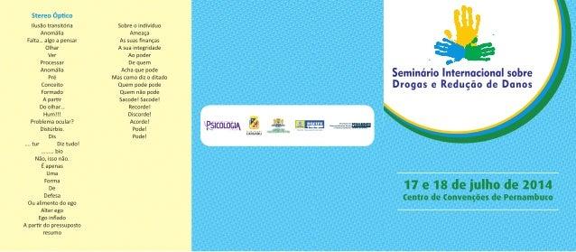 Programação do Seminário Internacional sobre Drogas e Redução de Danos