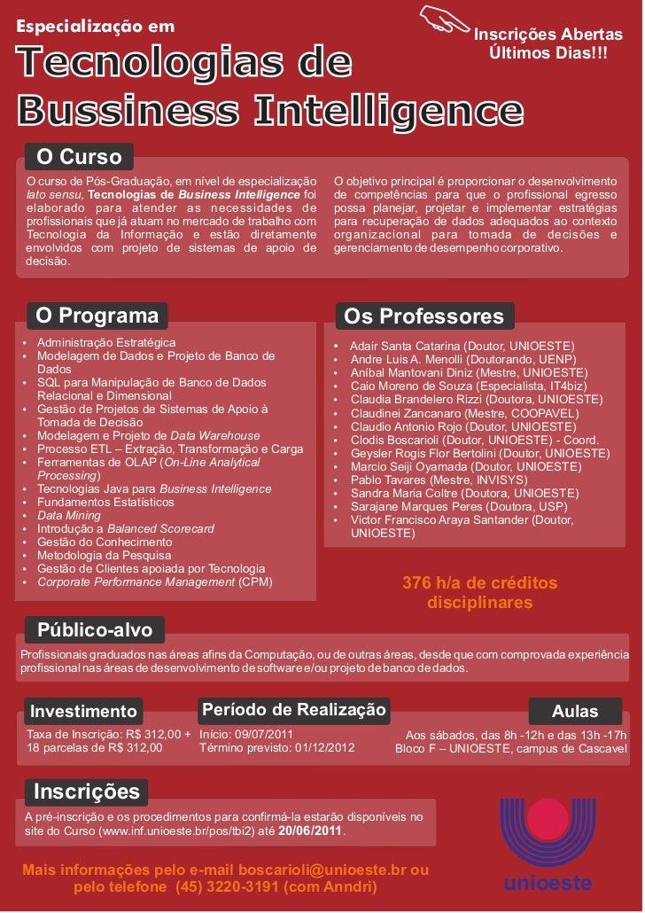 Especialização em                                                                  Inscrições AbertasTecnologias de       ...