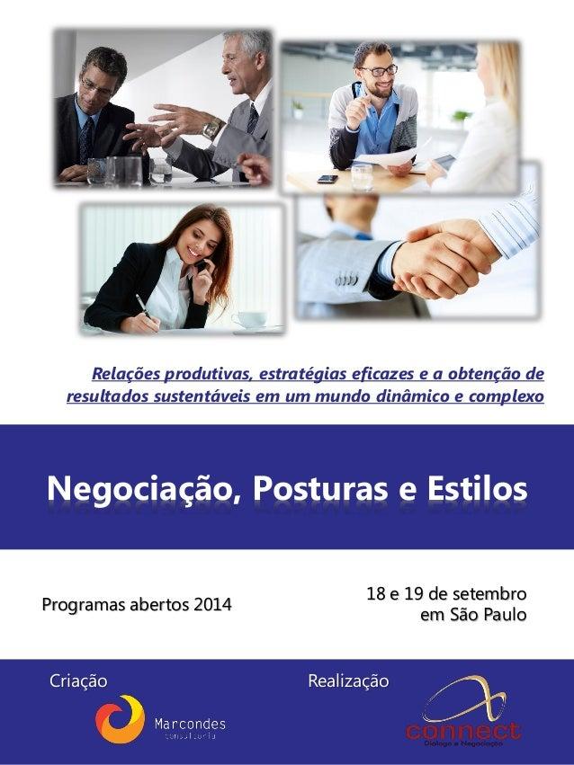 Negociação, Posturas e Estilos Programas abertos 2014 Relações produtivas, estratégias eficazes e a obtenção de resultados...