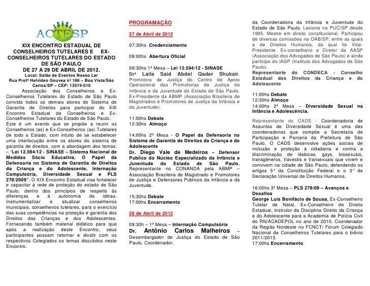 PROGRAMAÇÃO                                         da Coordenadoria da Infância e Juventude do                           ...