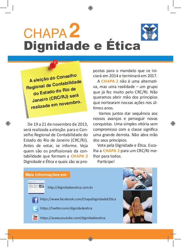 CHAPA 2  Dignidade e Ética Conselho leição do Ae bilidade l de Conta Regiona o Rio de Estado d do erá RC/RJ) s Janeiro (C ...