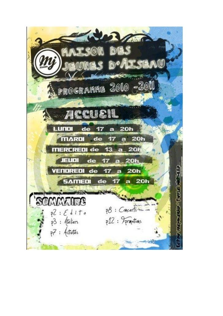 Le folder de la Maison des Jeunes d'Aiseau-Presles
