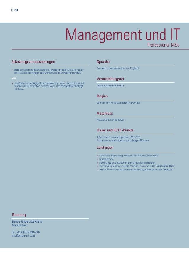 10   11 Management und ITProfessional MSc Zulassungsvoraussetzungen > abgeschlossenes Bakkalaureats-, Magister- oder Diplo...