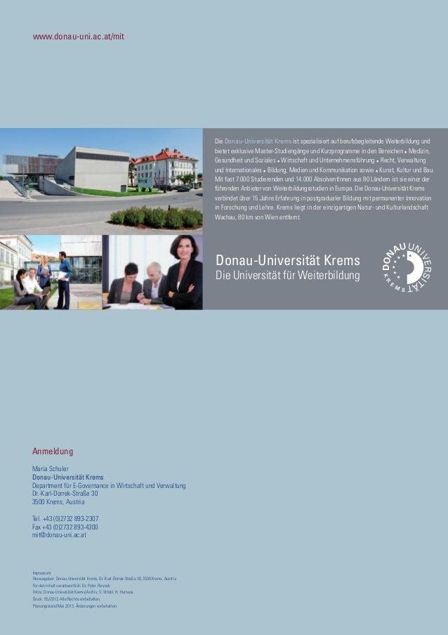 www.donau-uni.ac.at/mit Anmeldung Maria Schuler Donau-Universität Krems Department für E-Governance in Wirtschaft und Verw...
