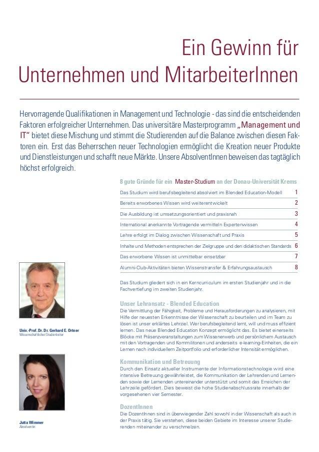 Univ.-Prof. Dr. Dr. Gerhard E. Ortner Wissenschaftlicher Studienleiter Jutta Wimmer Absolventin Ein Gewinn für Unternehmen...