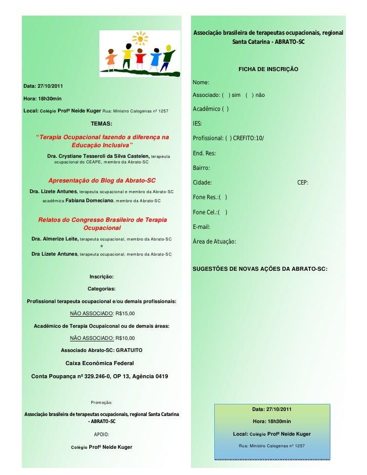 Associação brasileira de terapeutas ocupacionais, regional                                                                ...