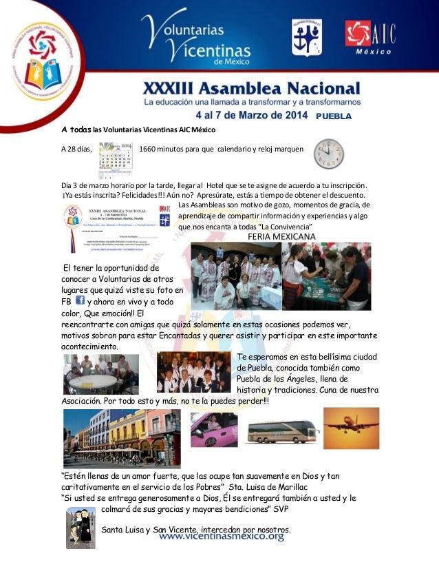 PUEBLA A todas las Voluntarias Vicentinas AIC México A 28 días,  1660 minutos para que calendario y reloj marquen  Día 3 d...