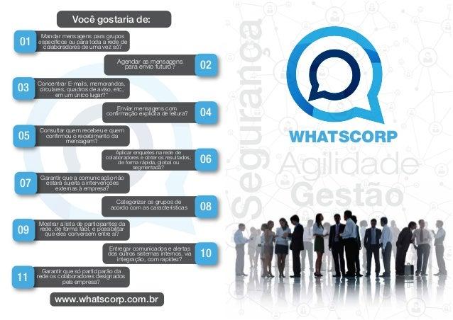 Segurança Agilidade Gestão Mandar mensagens para grupos específicos ou para toda a rede de colaboradores de uma vez só? 01...