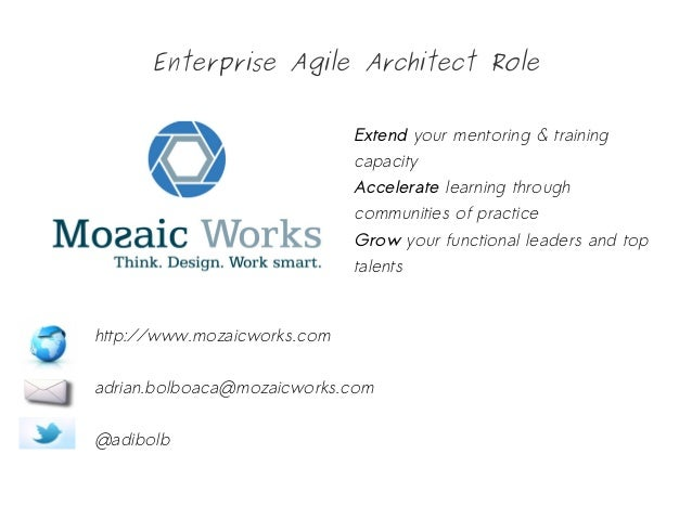 Enterprise Agile Architect Role Extend your mentoring & training capacity Accelerate learning through communities of pract...