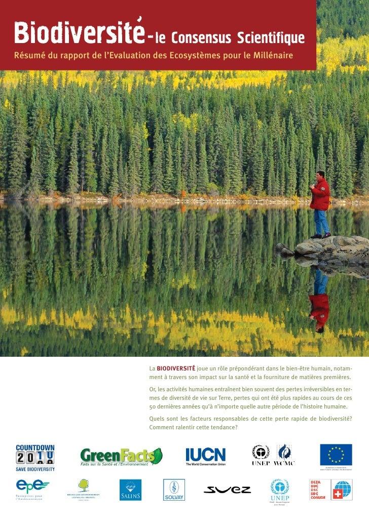 Biodiversite - le Consensus ScientifiqueRésumé du rapport de l'Evaluation des Ecosystèmes pour le Millénaire              ...
