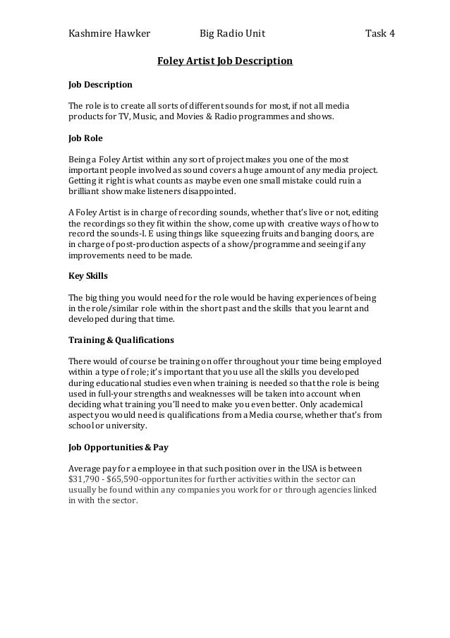 Foley Artist Job Description