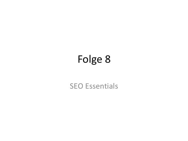 Folge 8 SEO Essentials