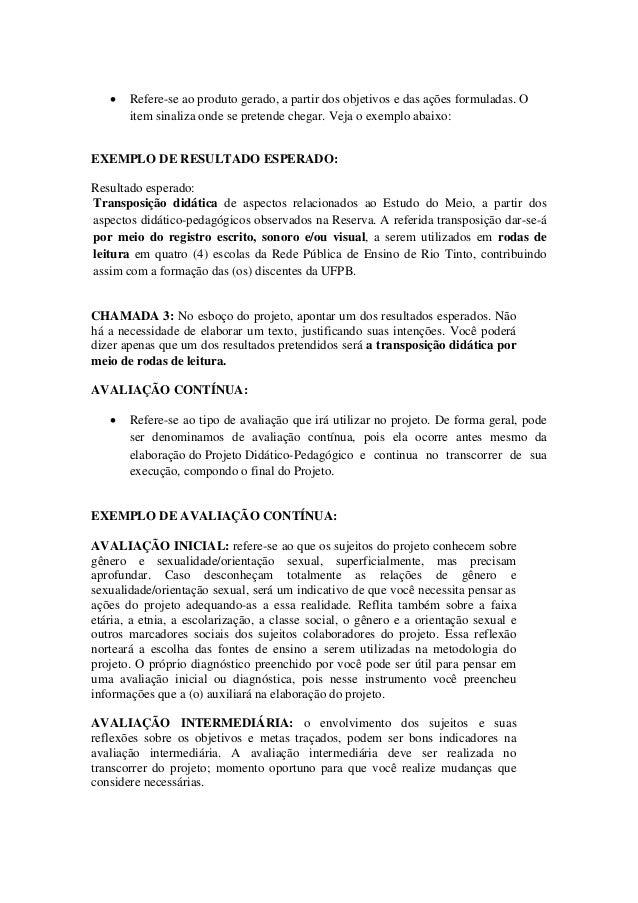 Favoritos ORIENTAÇÕES PARA A ELABORAÇÃO DO ESBOÇO DO PROJETO DIDÁTICO-PEDAGÓGICO KG03