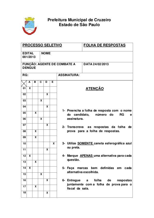 Prefeitura Municipal de Cruzeiro                            Estado de São PauloPROCESSO SELETIVO                          ...