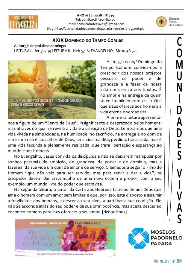 ANO 16   21.10.18   Nº 739 Tel: 251782158 / 251782400 Email: comunidadesvivas@gmail.com Blog: http://comunidadespadornelop...