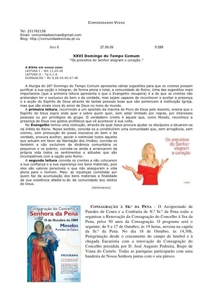 COMUNIDADES VIVAS  Tel: 251782158 Email: comunidadesvivas@gmail.com Blog: http://comunidadesvivas.pt.vu                   ...