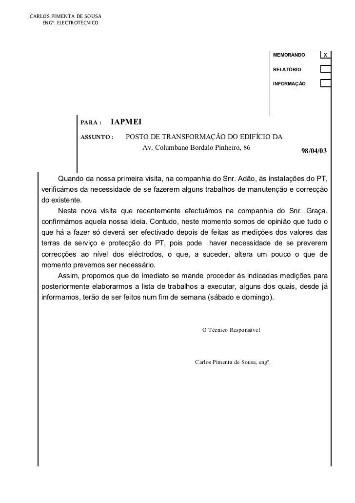 CARLOS PIMENTA DE SOUSA    ENGº. ELECTROTÉCNICO                                                                           ...