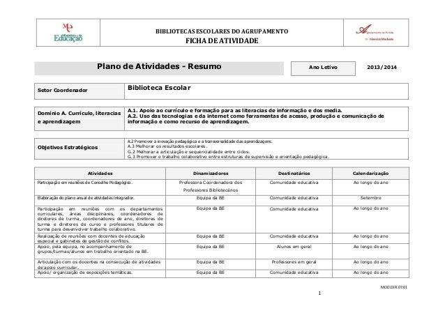 BIBLIOTECAS ESCOLARES DO AGRUPAMENTO  FICHA DE ATIVIDADE Plano de Atividades - Resumo Setor Coordenador  Domínio A. Curríc...