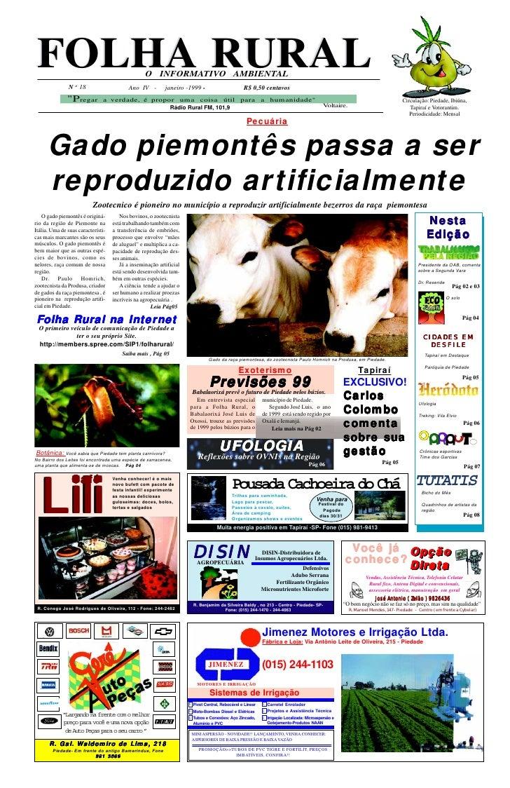 FOLHA RURAL                                       O INFORMATIVO AMBIENTAL               N o 18                      Ano IV...