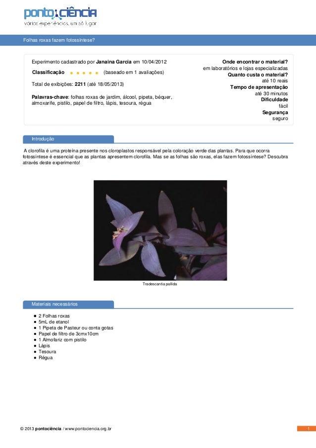 Folhas roxas fazem fotossíntese? Experimento cadastrado por Janaina Garcia em 10/04/2012 Classificação • • • • • (baseado ...