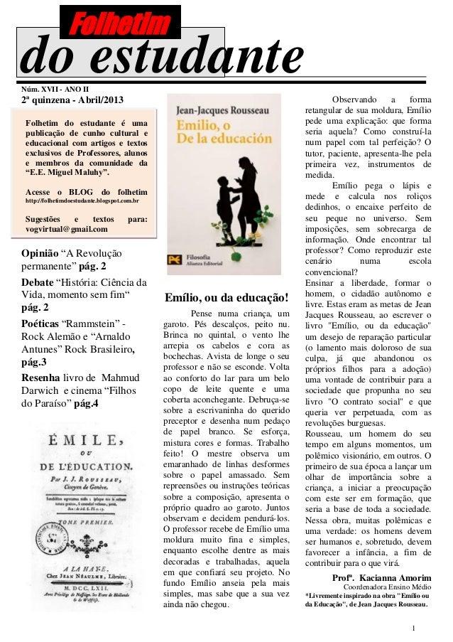 Folhetimdo estudanteNúm. XVII - ANO II2ª quinzena - Abril/2013                                                            ...