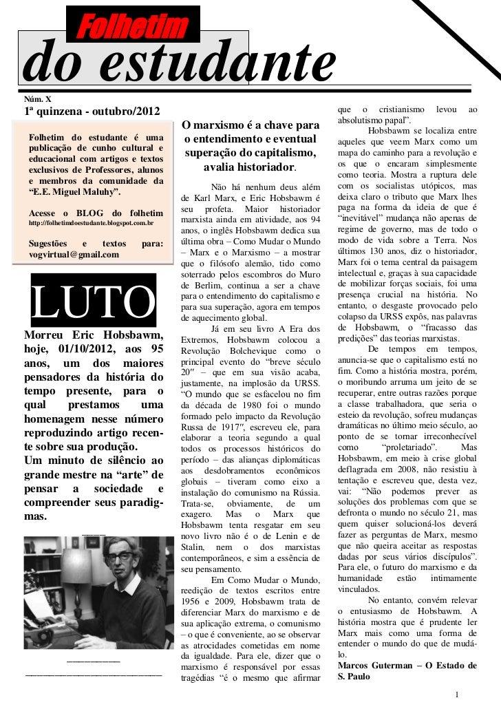 Folhetimdo estudanteNúm. X1ª quinzena - outubro/2012                                                            que o cris...