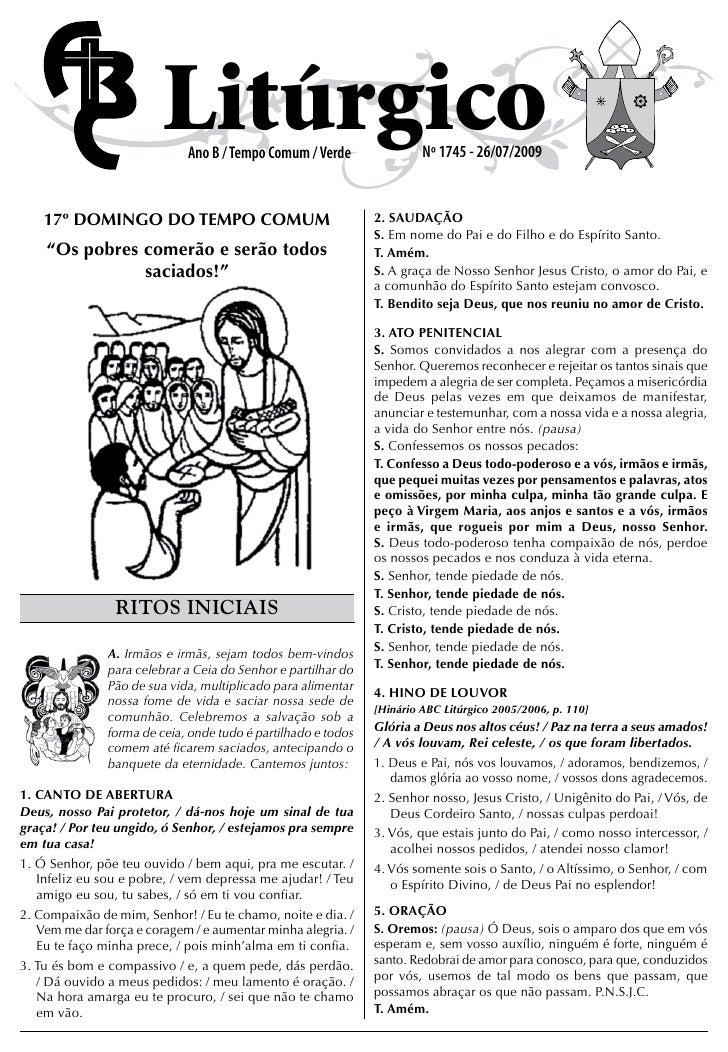 Litúrgico                              Ano B / Tempo Comum / Verde                Nº 1745 - 26/07/2009       17º DOMINGO D...