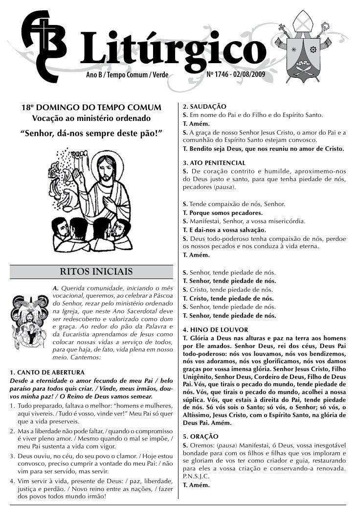 Litúrgico                             Ano B / Tempo Comum / Verde                 Nº 1746 - 02/08/2009       18º DOMINGO D...