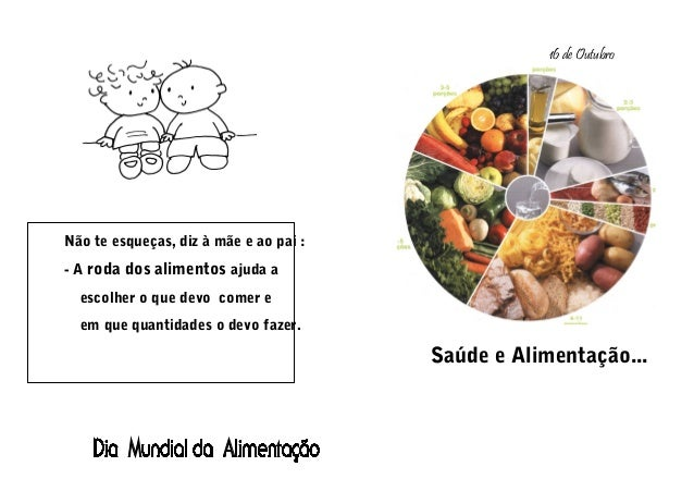 Não te esqueças, diz à mãe e ao pai : - A roda dos alimentos ajuda a escolher o que devo comer e em que quantidades o devo...