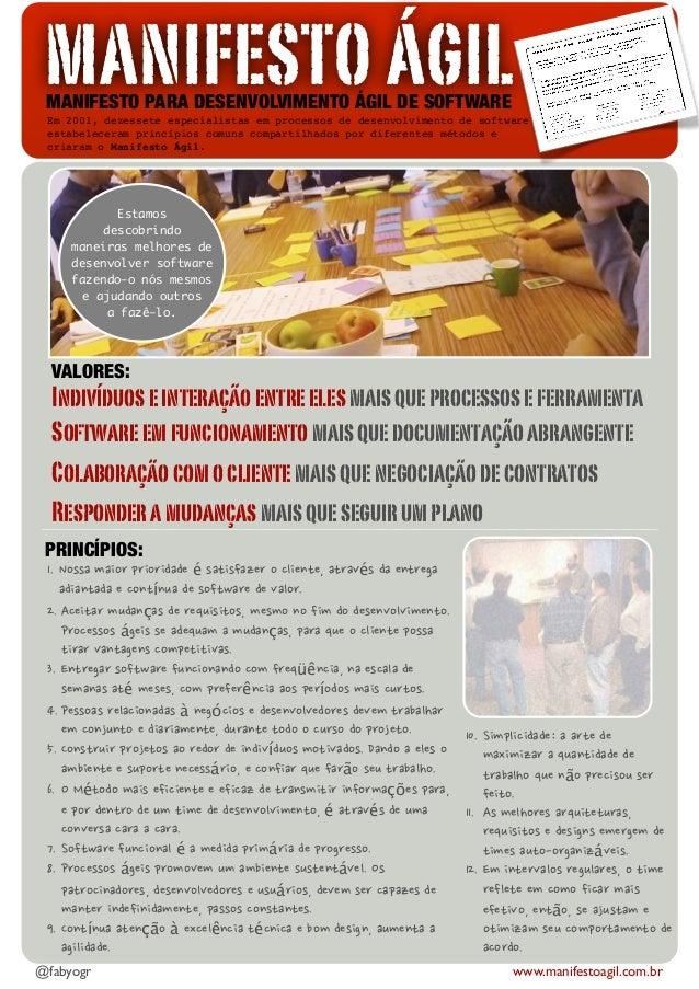 MANIFESTO ÁGILMANIFESTO PARA DESENVOLVIMENTO ÁGIL DE SOFTWAREEm 2001, dezessete especialistas em processos de desenvolvime...