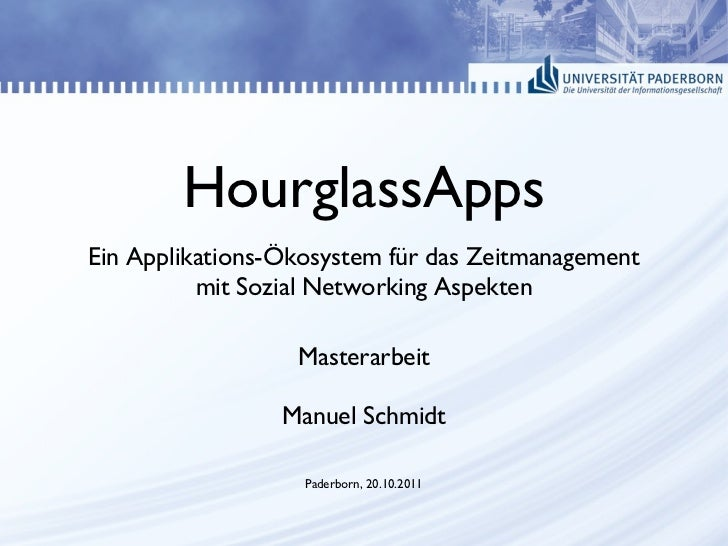 HourglassApps <ul>Ein Applikations-Ökosystem für das Zeitmanagement mit Sozial Networking Aspekten </ul>Masterarbeit Manue...