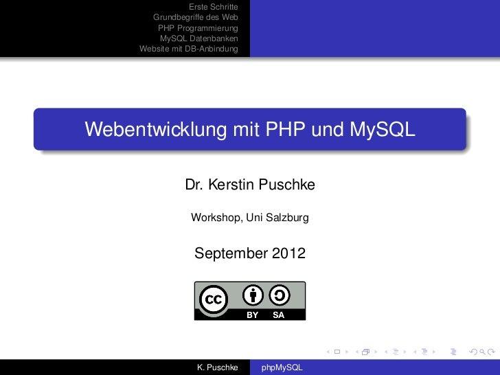 Erste Schritte       Grundbegriffe des Web        PHP Programmierung         MySQL Datenbanken     Website mit DB-Anbindun...