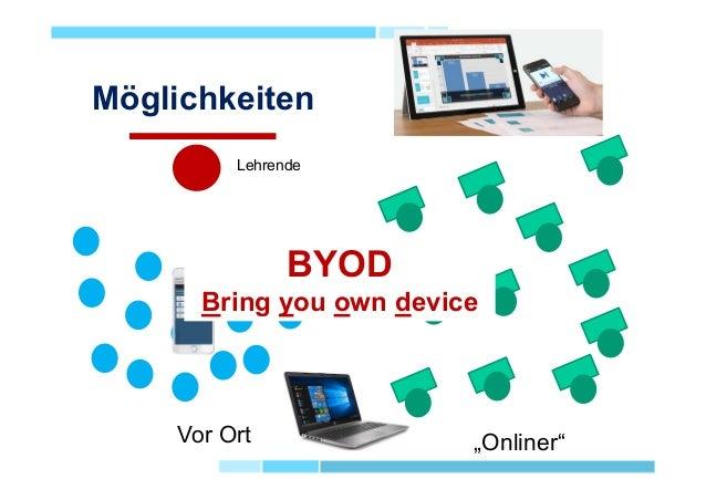 """Möglichkeiten Vor Ort """"Onliner"""" Lehrende BYOD Bring you own device"""