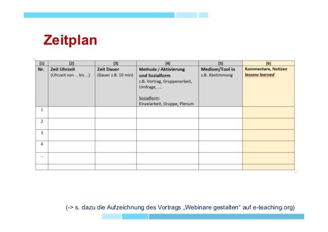 """Zeitplan (-> s. dazu die Aufzeichnung des Vortrags """"Webinare gestalten"""" auf e-teaching.org)"""