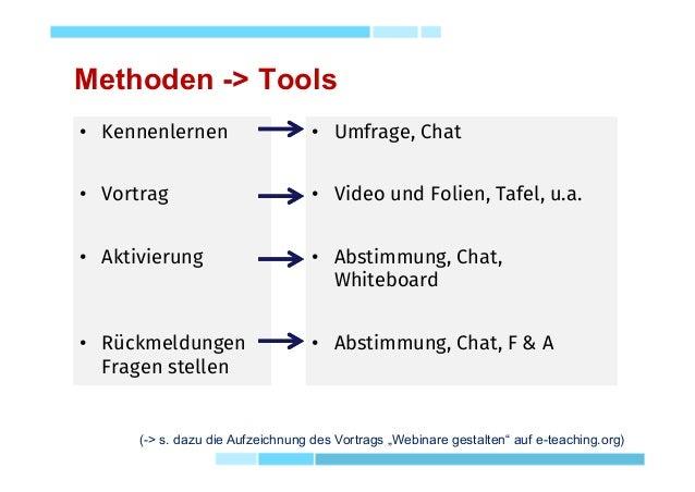 Methoden -> Tools • Kennenlernen • Vortrag • Aktivierung • Rückmeldungen Fragen stellen • Kennenlernen • Vortrag • Aktivie...