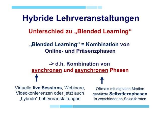 """Hybride Lehrveranstaltungen Unterschied zu """"Blended Learning"""" """"Blended Learning"""" = Kombination von Online- und Präsenzphas..."""